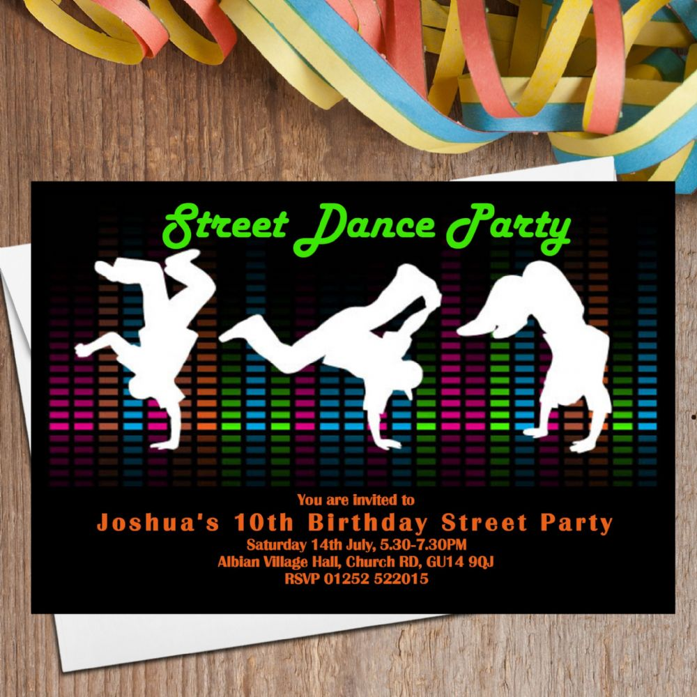 street dance party invitations n  the personalised party co, invitation samples